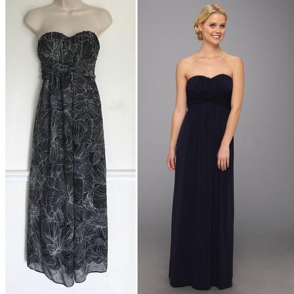 Jessica Simpson Twist Bust Black Floral Gown   Poshmark